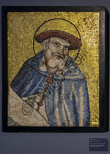 Orvieto, MODO (Museo dell'Opera del Duomo di Orvieto): S. Girolamo, mosaico a tessere vitree e lapidee, proveniente dalla facciata del Duomo adiacente il rosone,di Piero di Puccio, 1388.