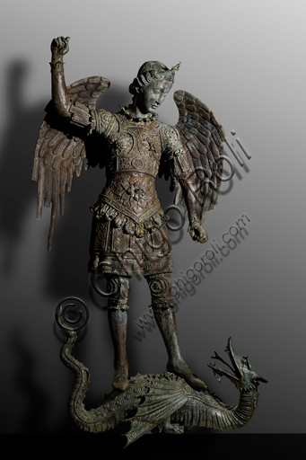 """Orvieto, MODO (Museum of the Opera of the  Duomo of Orvieto): """"St Michael and the Dragon"""", a bronze sculpture taken from the façade of the Cathedral of Orvieto, realized during the works led by Lorenzo Maitani in the first half of the fourteenth century."""