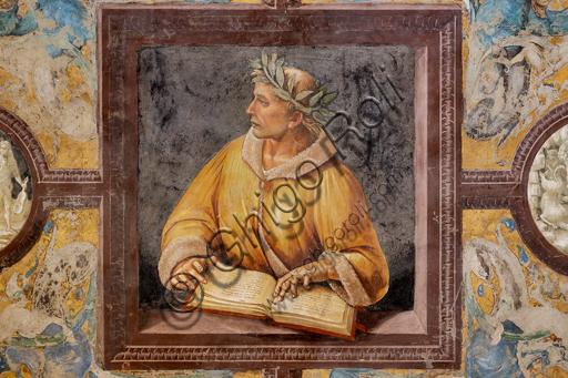 """Orvieto, Basilica Cattedrale di Santa Maria Assunta (o Duomo), interno, Cappella Nova o di San Brizio, parte inferiore delle pareti, serie dei Personaggi illustri dove ogni figura è circondata da tondi in monocromo che hanno la funzione di identificare il personaggio attraverso la rappresentazione di episodi tratti dalle sue opere: """"Ovidio"""""""