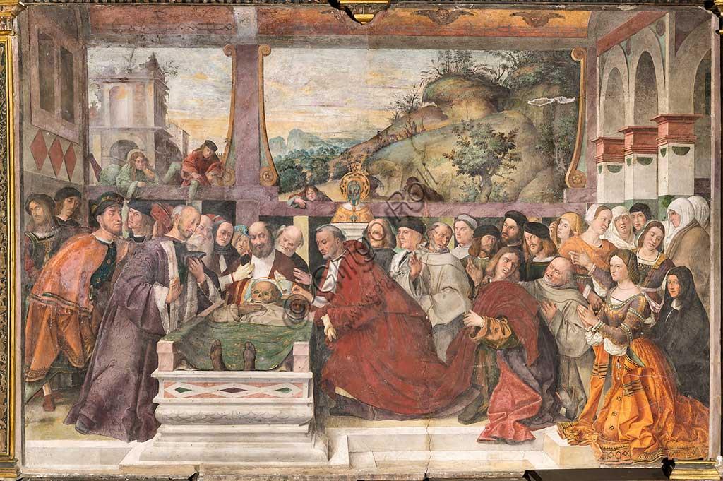 """Padova, Basilica di Sant'Antonio o del Santo, Scuola del Santo, Salone: """"Il cardinale Guido di Monfort fa aprire l'arca del Santo (1350)"""", affresco di Bartolomeo Montagna, 1512. L'uomo con il mantello orlato di pelliccia, di fronte al cardinale, è probabilmente Jacopo II da Carrara, la donna in primo piano a destra, sua moglie Costanza."""