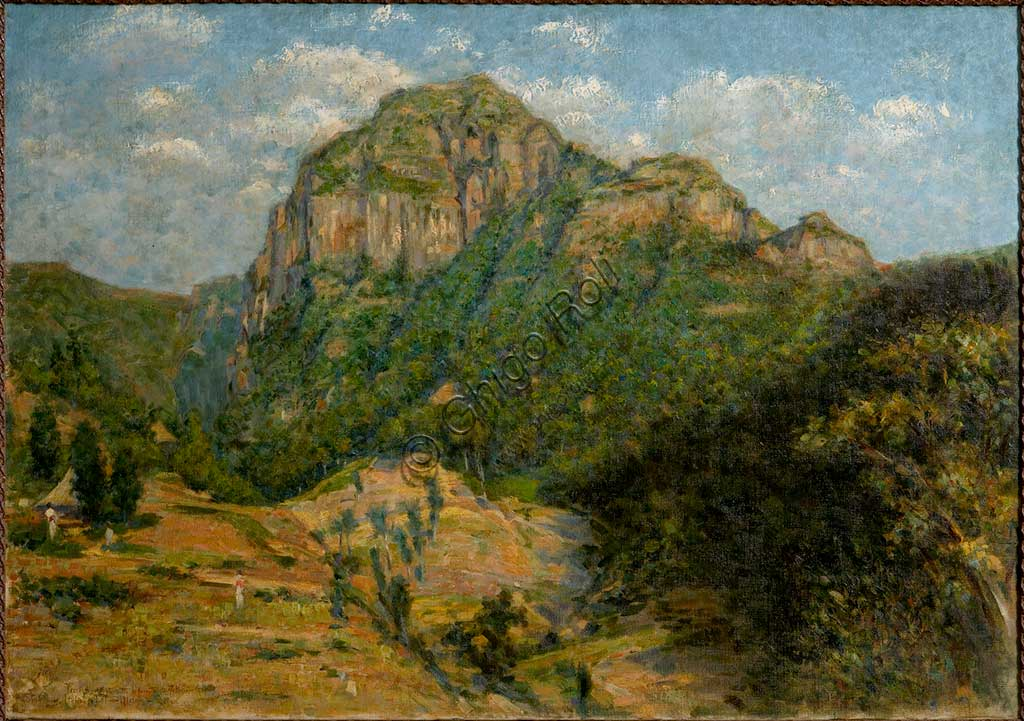 "Assicoop - Unipol Collection: Augusto Valli (1867-1945), ""African Landscape"". Oil on canvas, cm 79 x 112,5."