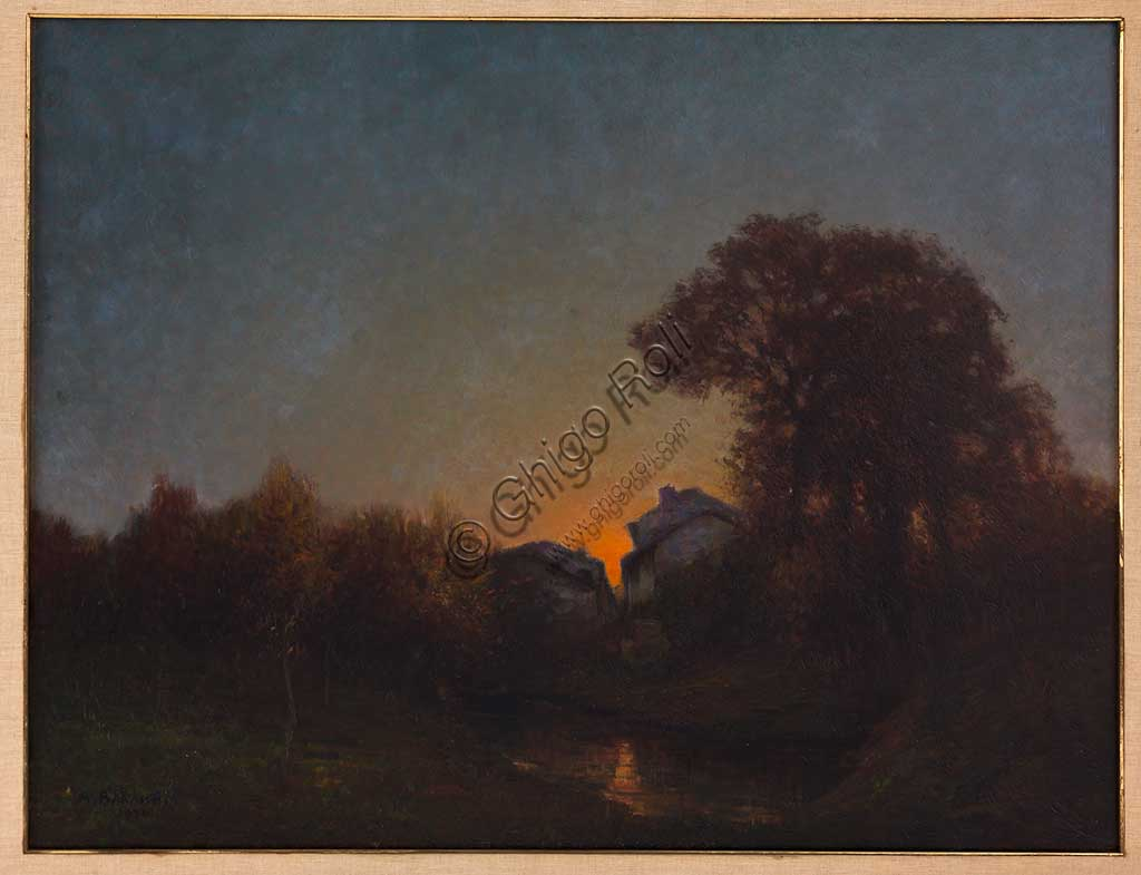 "Assicoop - Unipol Collection:  Augusto Baracchi (1878-1942), ""Landscape at Sunset"", oil on canvas."