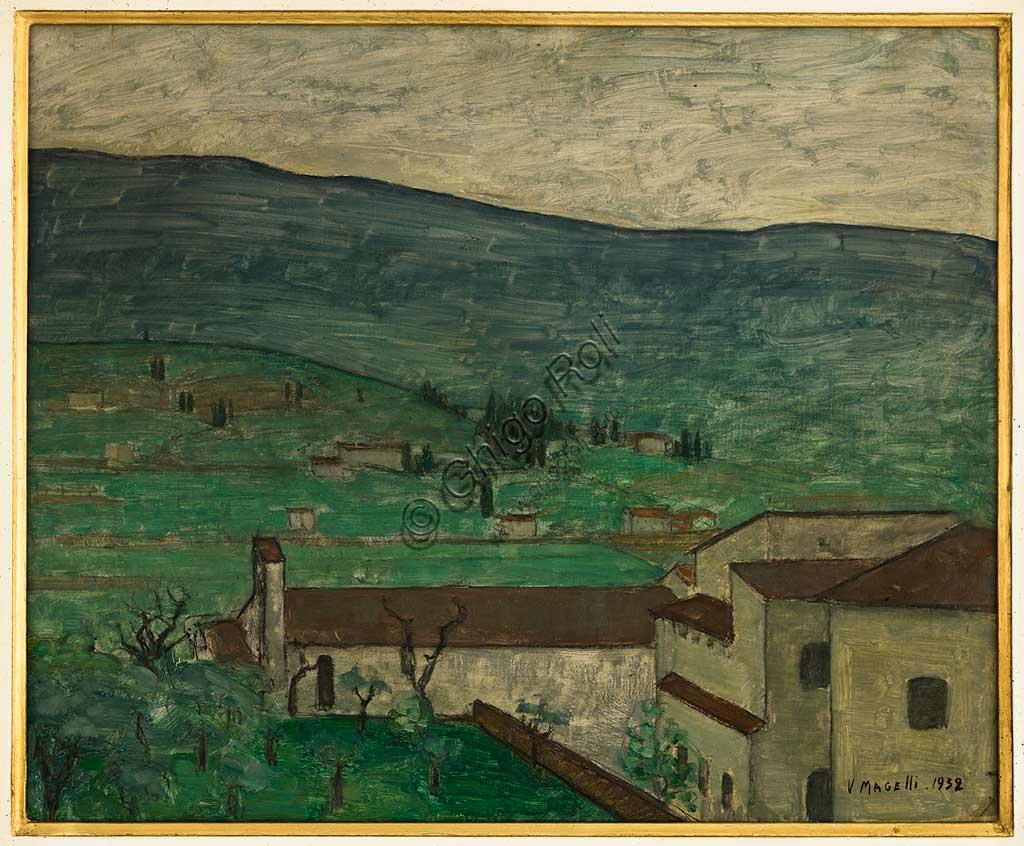 """Collezione Assicoop Unipol:  Vittorio Magelli  (1911-1988); """"Paesaggio Aretino"""" 1932; olio su tela, 46x56."""