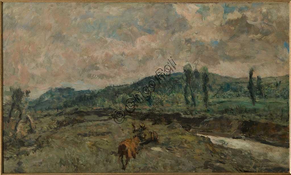 """Collezione Assicoop - Unipol: GIUSEPPE GRAZIOSI (1879-1942), """"Paesaggio con Carri"""", olio su tavola, cm. 125 x 75."""