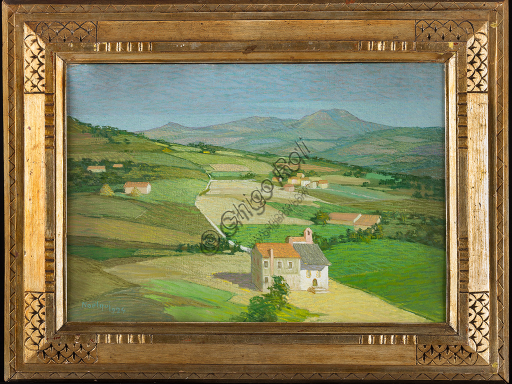 "Assicoop - Unipol Collection:Quintavalle  Noel Noelqui (1893 - 1977): ""Landscape with house"". Oil painting, cm 45 x 65."