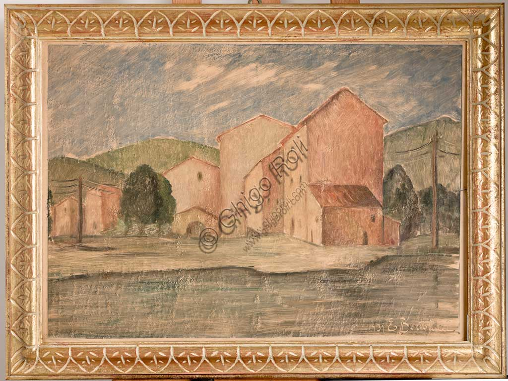 "Assicoop - Unipol Collection: Emilio Tato Bartolucci (1914 - 1986); ""Landscape with Houses""; oil on canvas, cm. 45,5 x 74."