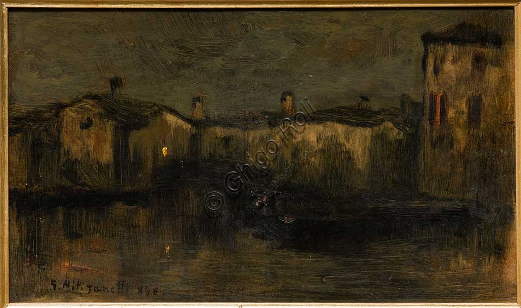 "Assicoop - Unipol Collection: Giuseppe Miti Zanetti, ""Landscape with houses"", oil on cardboard."