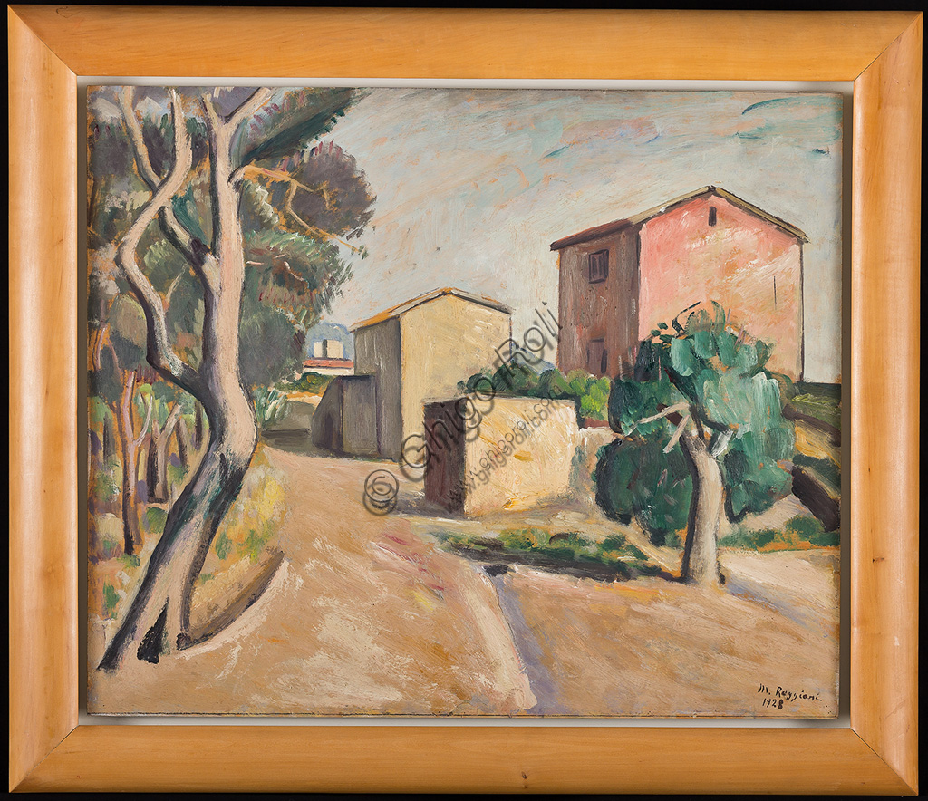 "Assicoop - Unipol Collection:Mauro Reggiani (1897 - 1980): ""Landscape with Houses"".  Oil painting, cm 50 x 60."