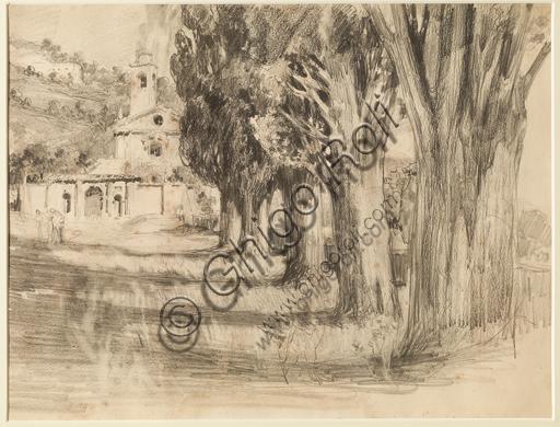 "Giuseppe Mentessi (Ferrara 1857-1931): ""Paesaggio con chiesa""; matita su carta; cm. 26 X 34."
