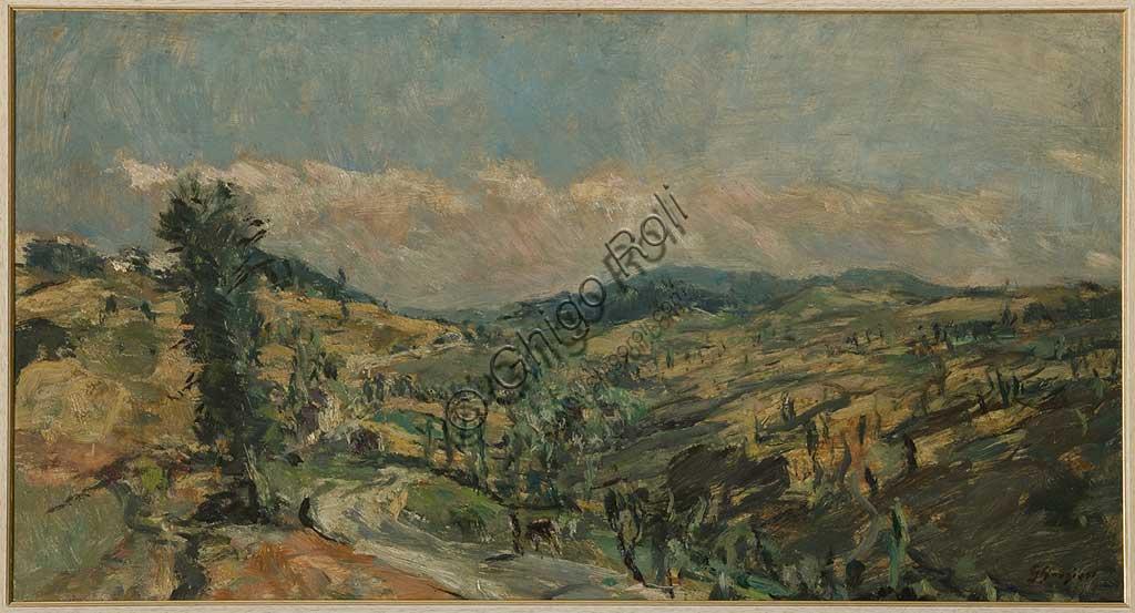 """Collezione Assicoop - Unipol: GIUSEPPE GRAZIOSI (1879-1942), """"Paesaggio  con cipressi"""", olio su tavola, cm. 102 x 55."""