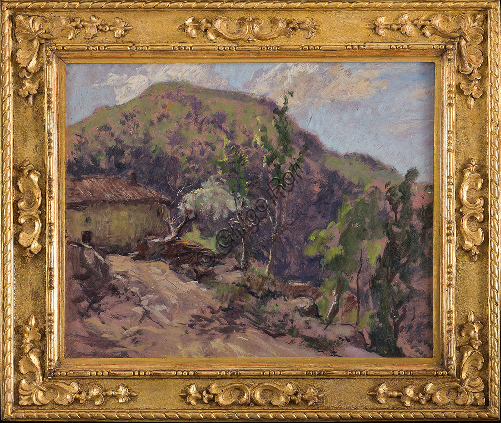 "Assicoop - Unipol Collection:Giovanni Forghieri  (1898 - 1944): ""Landscape"". Oil panel painting, cm 64 x 75."