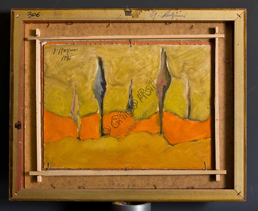 "Assicoop - Unipol Collection: Giulio Rasponi, ""Landscape""; oil on plywood. Verso."