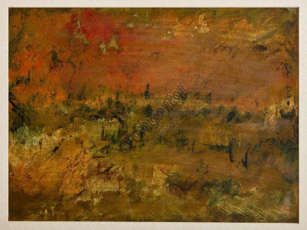 "Assicoop - Unipol Collection: Giulio Rasponi, ""Landscape""; oil on cardboard."