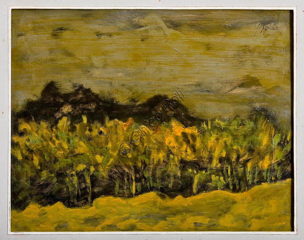 "Assicoop - Unipol Collection: Giulio Rasponi, ""Landscape""; oil on plywood."