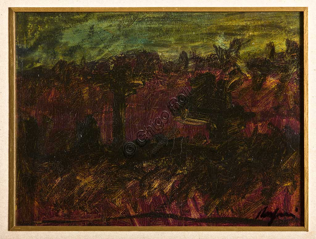 "Assicoop - Unipol Collection: Giulio Rasponi, ""Landscape""; oil on plywood. Recto."