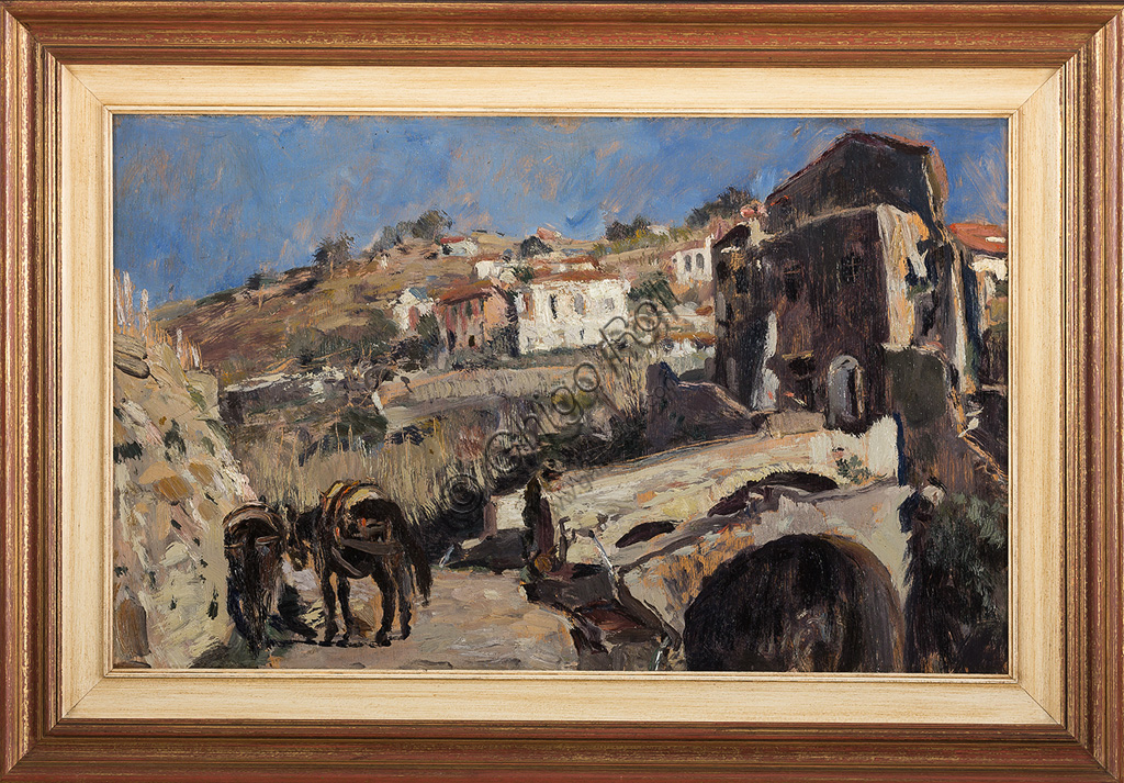 """Collezione Assicoop - Unipol: Giuseppe Graziosi (1879 - 1942): """"Paesaggio"""". Olio su compensato, cm. 50 x 80."""