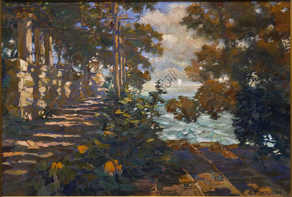 "Assicoop - Unipol Collection:  Giuseppe Mazzoni (1881 - 1957), ""Landscape"", painting."