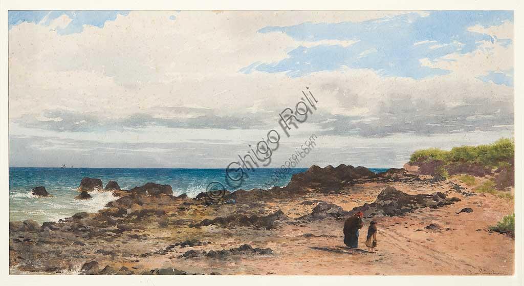 """Collezione Assicoop - Unipol: Silvestro Barberini (1854-1916), """"Paesaggio"""". Acquerello, cm. 65x35."""