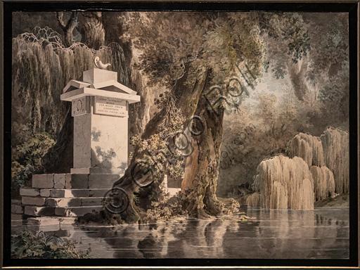 "Giovanni Battista De Gubernatis: ""Imaginary Landscape with gravestone dedicated to the poet Edoardo Valvo"", 1804, pencil and watercolour on paper."