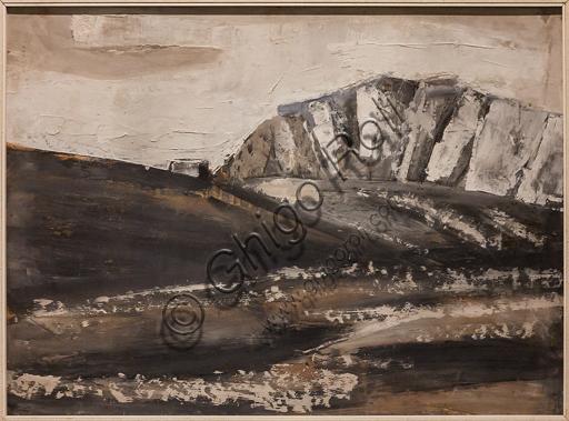 """Museo Novecento: """"Paesaggio dolomitico"""", di Mario Sironi, 1934. Tempera su faesite."""