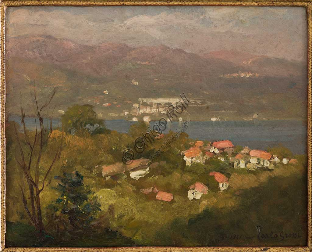 "Assicoop - Unipol Collection: Carlo Grossi (1857-1931); ""Landscape of Lombardy"", oil on cardboard, cm 24 X 30."