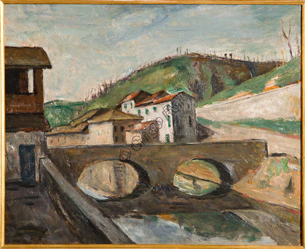 "Assicoop - Unipol Collection:  Mauro Reggiani (1897-1960), ""Modena Landscape"". Oil painting, cm 60 x 50."