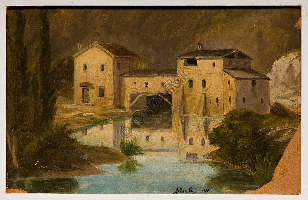"Assicoop - Unipol Collection:  Andrea Becchi (1851 - 1926), ""Landscape with Mill""; oil painting on cardboard."
