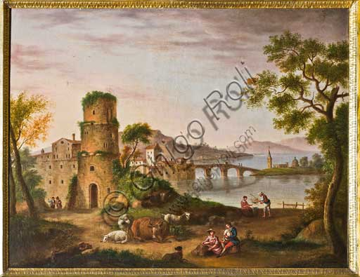 "Palermo, The Royal Palace or Palazzo dei Normanni (Palace of the Normans), The Royal Apartment, Room of the General Secretary, Collection of paintings: ""Landscape"", painting by Andrea Sottile, XIX century."