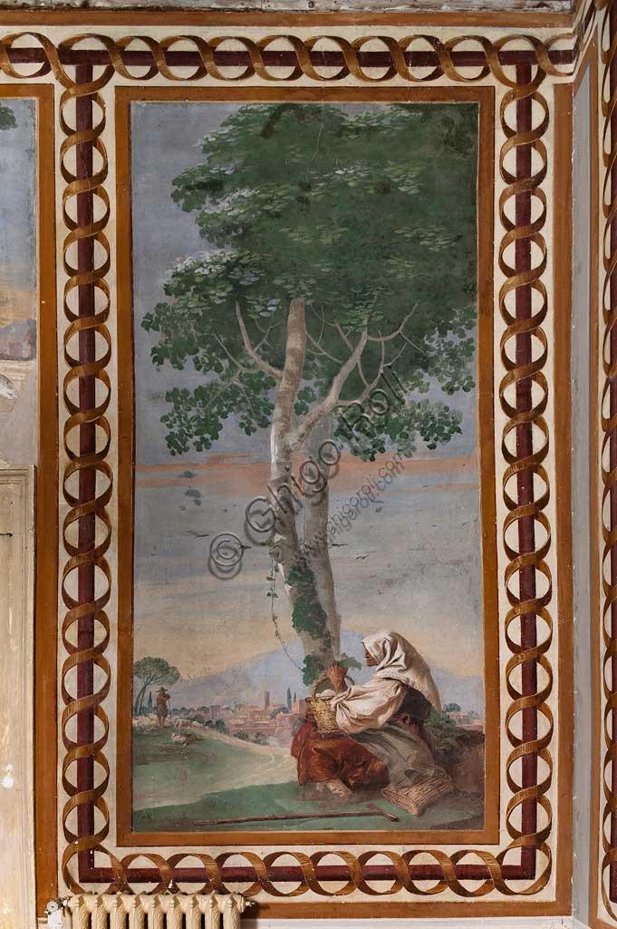 """Vicenza, Villa Valmarana ai Nani, Foresteria, Stanza delle Scene Campestri: """"Paesaggio con contadina seduta"""" , affresco di Giandomenico Tiepolo, 1757."""