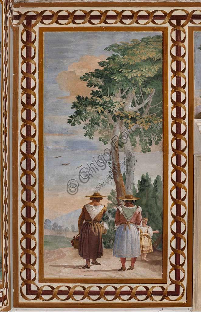 """Vicenza, Villa Valmarana ai Nani, Foresteria, Stanza delle Scene Campestri: """"Paesaggio con contadine"""" , affresco di Giandomenico Tiepolo, 1757."""