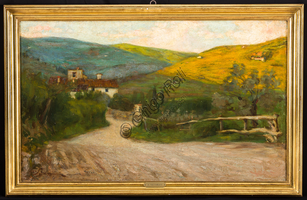 "Assicoop - Unipol Collection:Arcangelo Salvarani (1882 - 1953): ""Tuscan Landscape with House"". Oil painting, cm 54 x 90."