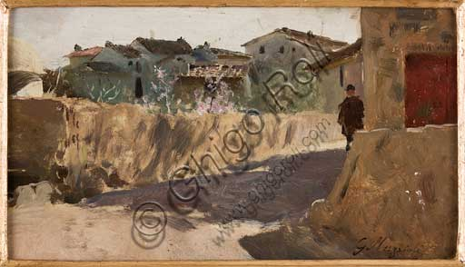 """Collezione Assicoop - Unipol, inv. n° 424: Giovanni Muzzioli (1854 - 1894), """"Paesaggio toscano""""."""