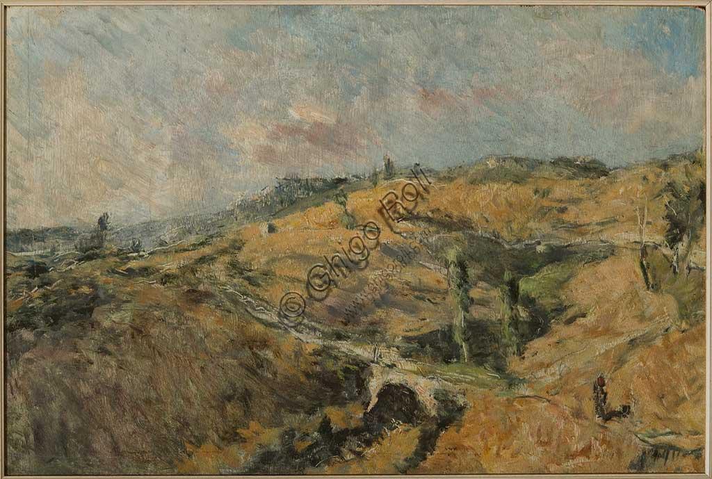 """Collezione Assicoop - Unipol: GIUSEPPE GRAZIOSI (1879-1942), """"Paesaggio toscano - Le Caldire"""", olio su tavola, cm. 100 x 67."""