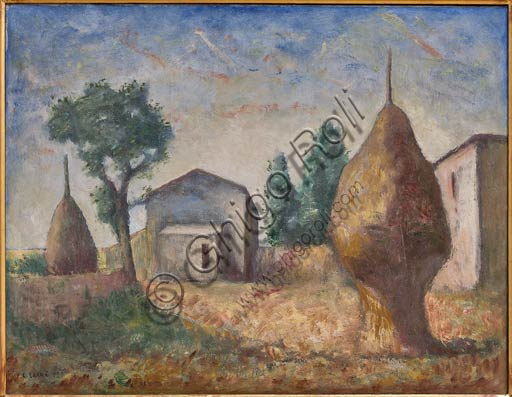 """Piacenza, Galleria Ricci Oddi:  """"Pagliai"""" (1929), olio su tela di Carlo Carrà (1881 - 1966)."""