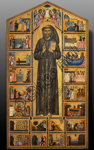 "Basilica of the Holy Cross, the Bardi Chapel: ""Bardi - St. Francis altarpiece and twenty stories of his life"", by Coppo di Marcovaldo,1245-50."