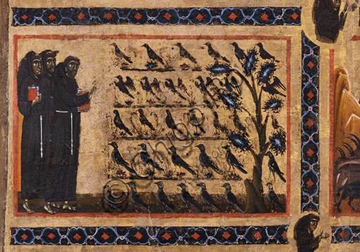 "Basilica of the Holy Cross, the Bardi Chapel: ""Bardi - St. Francis altarpiece and twenty stories of his life"", by Coppo di Marcovaldo,1245-50.Details from above: - St. Francis preaching to birds"