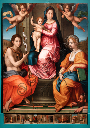 """Perugia, National Gallery of Umbria: """"Altarpiece of the nuns of St. Juliana"""" and predella with the stories of the life of St. Juliana, by Domenico Alfani, 1532. Oil painting. In the altarpiece: the Madonna with Blessing Child, two angels, St. John the Baptist and St. Juliana of Nicomedia."""