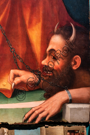 """Perugia, National Gallery of Umbria: """"Altarpiece of the nuns of St. Juliana"""" and predella with the stories of the life of St. Juliana, by Domenico Alfani, 1532. Oil painting. Detail of the altarpiece with chained devil and ."""