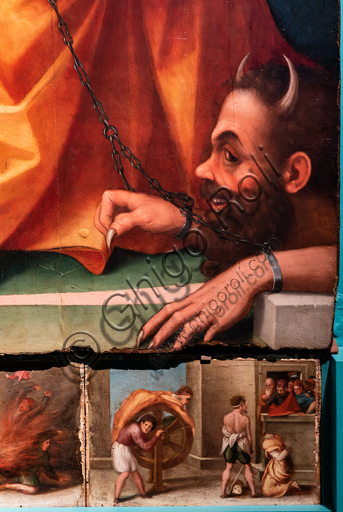 """Perugia, National Gallery of Umbria: """"Altarpiece of the nuns of St. Juliana"""" and predella with the stories of the life of St. Juliana, by Domenico Alfani, 1532. Oil painting. Detail of the altarpiece with chained devil and part of the predella with the torture of the wheel and the beheading of S. Juliana."""