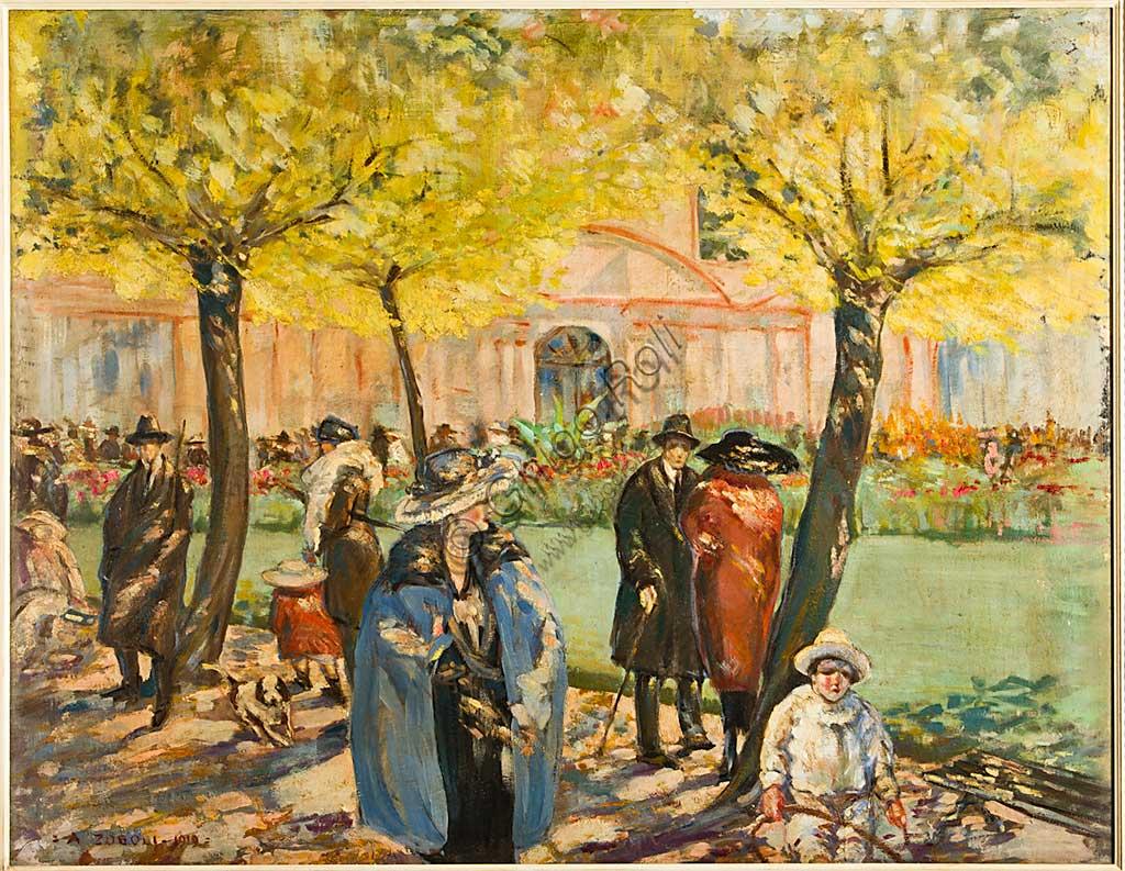 """Collezione Assicoop - Unipol:  Augusto Zoboli (1894-1991), """"Palazzina dei Giardini a Modena"""". Olio su tela, cm 115 x 145."""