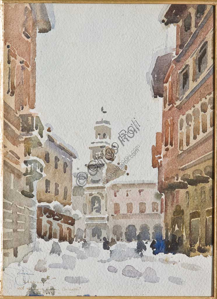 "Assicoop - Unipol Collection: Arcangelo Salvarani,  "" The Municipal Palace in Modena in the Snow"". Watercolour on paper, cm 32 x 23,5."