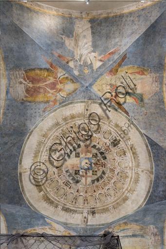 """Palazzo dell'Arte dei Giudici e Notai, o del Proconsolo: """"Volta con l'immagine circolare di Firenze come nuova Gerusalemme Celeste"""", chiusa fra le mura arnolfiane, con gli stemmi del Comune, il giglio, l'aquila di Parte Guelfa, la croce; e circondata dalle vele con le allegorie del Diritto, della Giustizia e della Fortezza. Affreschi di Jacopo di Cione (fratello dell'Orcagna, 1366-1406)."""