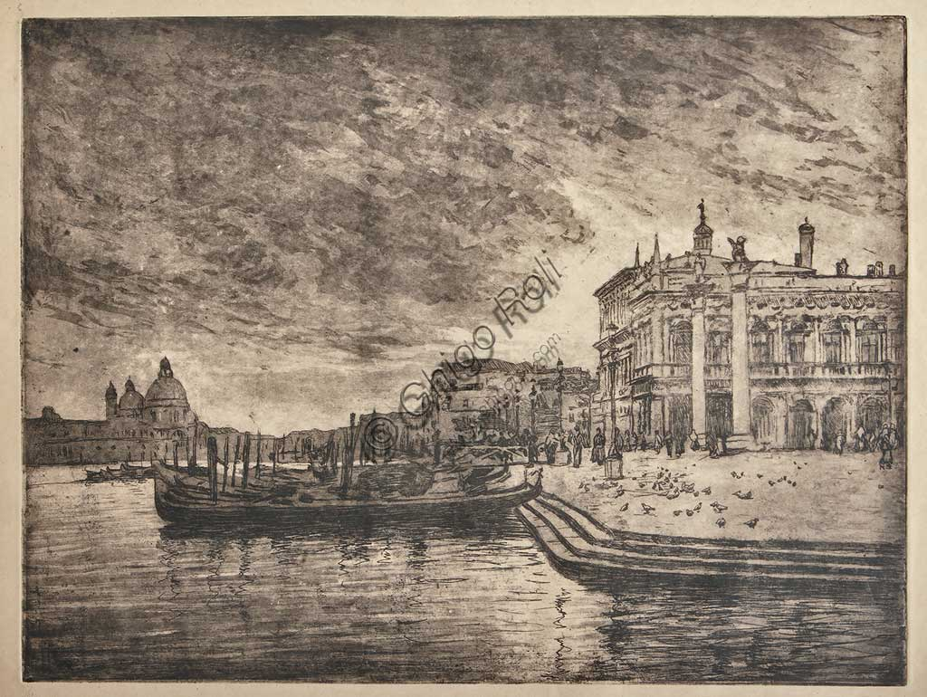 "Assicoop - Unipol Collection: ""The Royal Palace and the Salute Basilica"", etching  and aquatint on white paper, by Giuseppe Miti Zanetti (1859 - 1929)."