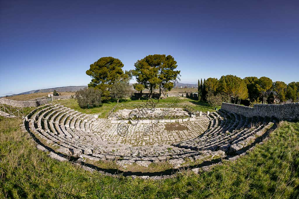 Palazzolo Acreide, The archaeological site of  Akrai: view of the Greek theatre.