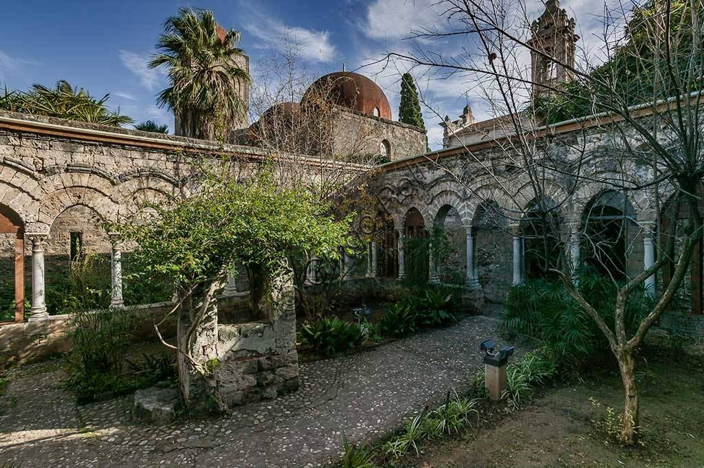 Palermo, the Church of St. John of the Hermits: the cloister.UNESCO site: Arab-Norman Palermo and the cathedrals of Cefalù and Monreale.