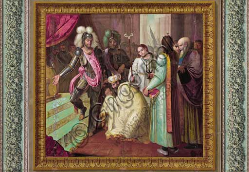 "Palermo, The Royal Palace or Palazzo dei Normanni (Palace of the Normans), The Royal Apartment, The Yellow Room: ""Count Roger returns the bishop's throne to Nicodemus"",  dry wall painting by Vincenzo Riolo, about 1835."