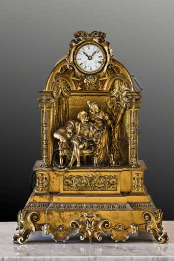Palermo, The Royal Palace or Palazzo dei Normanni (Palace of the Normans), The Royal Apartment, corridor which leads to the Viceroy Room: table clock in golden bronze.