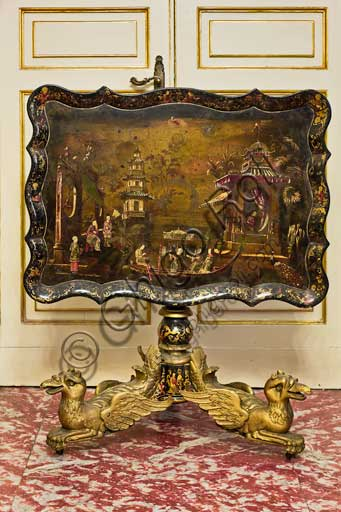 Palermo, The Royal Palace or Palazzo dei Normanni (Palace of the Normans), The Royal Apartment, The Chinese Room or the Chinese Study: a tea table. On the top there is a landscape with scenes of life in imitation of Chinese lacquers. Work by Sicilian craftsmanship, XIX century.