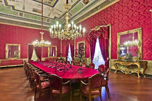 Palermo, The Royal Palace or Palazzo dei Normanni (Palace of the Normans), The Royal Apartment, The Red Room: view.
