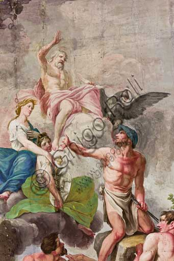 "Palermo, The Royal Palace or Palazzo dei Normanni (Palace of the Normans), The Royal Apartment, The Red Room: ""Apotheosis of work, agriculture, arts and sciences"" by Benedetto Codardi. Allegorical depiction of  the Olympus with Jupiter, Ceres, and Vulcan. Detail."